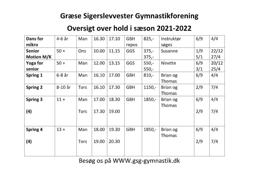 Holdoversigt 2021-2022